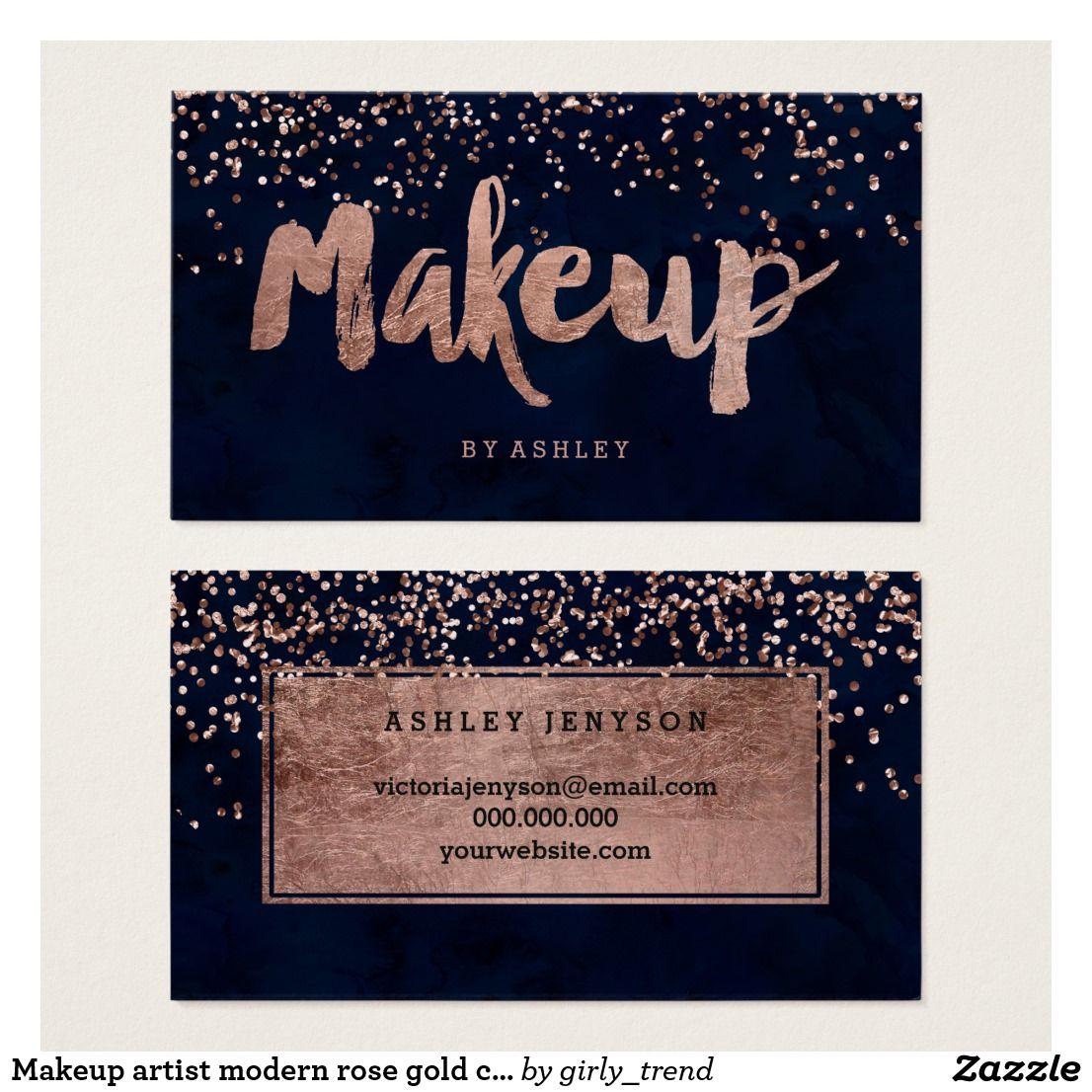 Artist modern rose gold confetti navy blue business card makeup artist modern rose gold confetti navy blue business card colourmoves Gallery