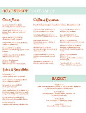 Coffee Cafe Menu Template Diy  Coffee Shop    Cafe