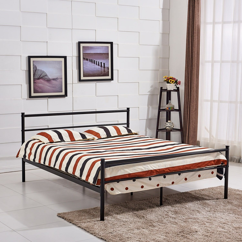 Queensize Platform Bed Frame, Metal Mattress Foundation