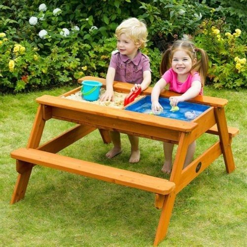 Kids Outdoor Surfside Sand Pit U0026 Water Wooden Picnic Table Toy Garden Play  Game