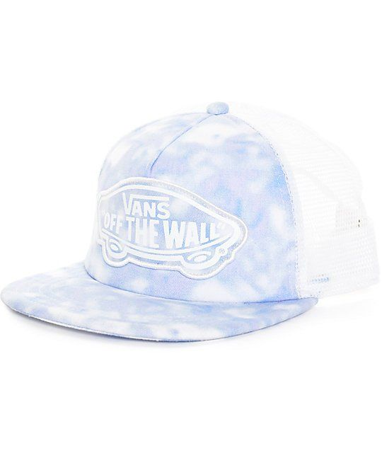 91bcd70aa67 Vans Beach Girl Tie Dye Palace Blue Trucker Hat