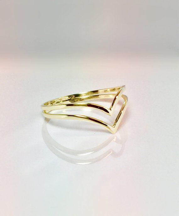 a762ff215c12a 14k/10k Gold Ladies Double V Chevron Ring - Gold Pinky Ring - Ladies ...