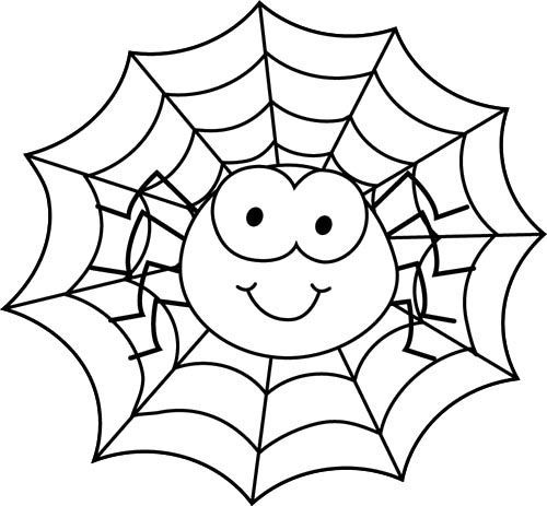Spider In Web Coloring Page