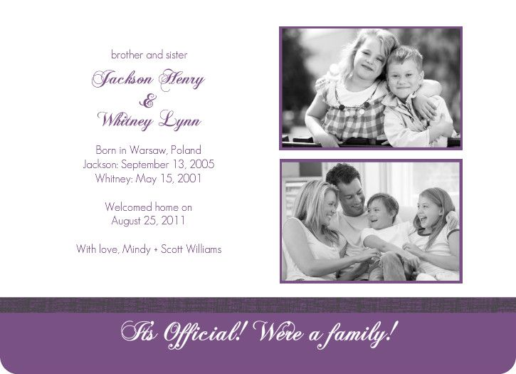 purple brother and sister photo adoption party invitation by, Party invitations