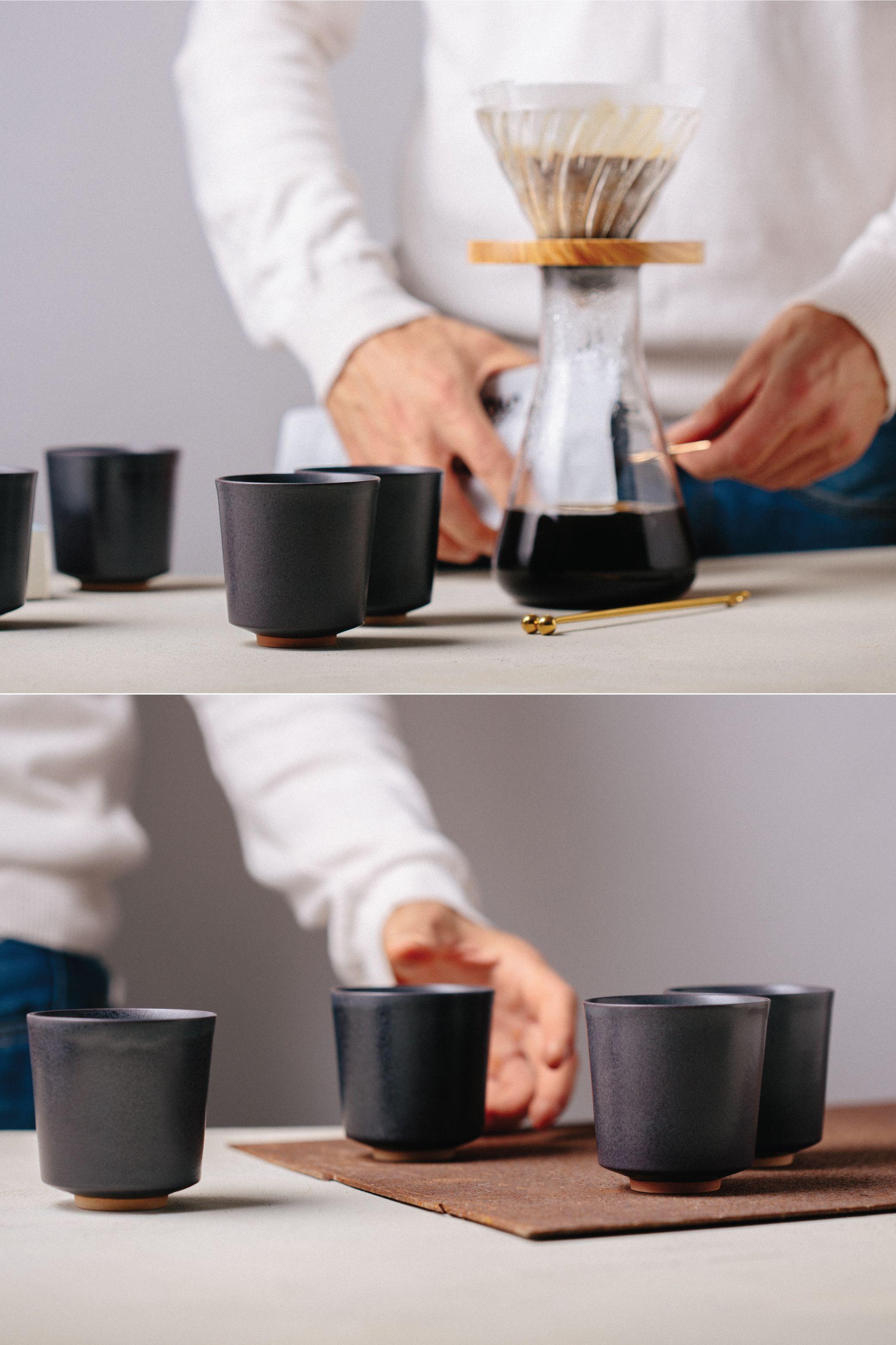 Kubo 4 Modern Espresso Cups Charcoal Glaze Classic Kubo Set