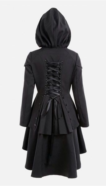 Layered Lace Up High Low Hooded Coat