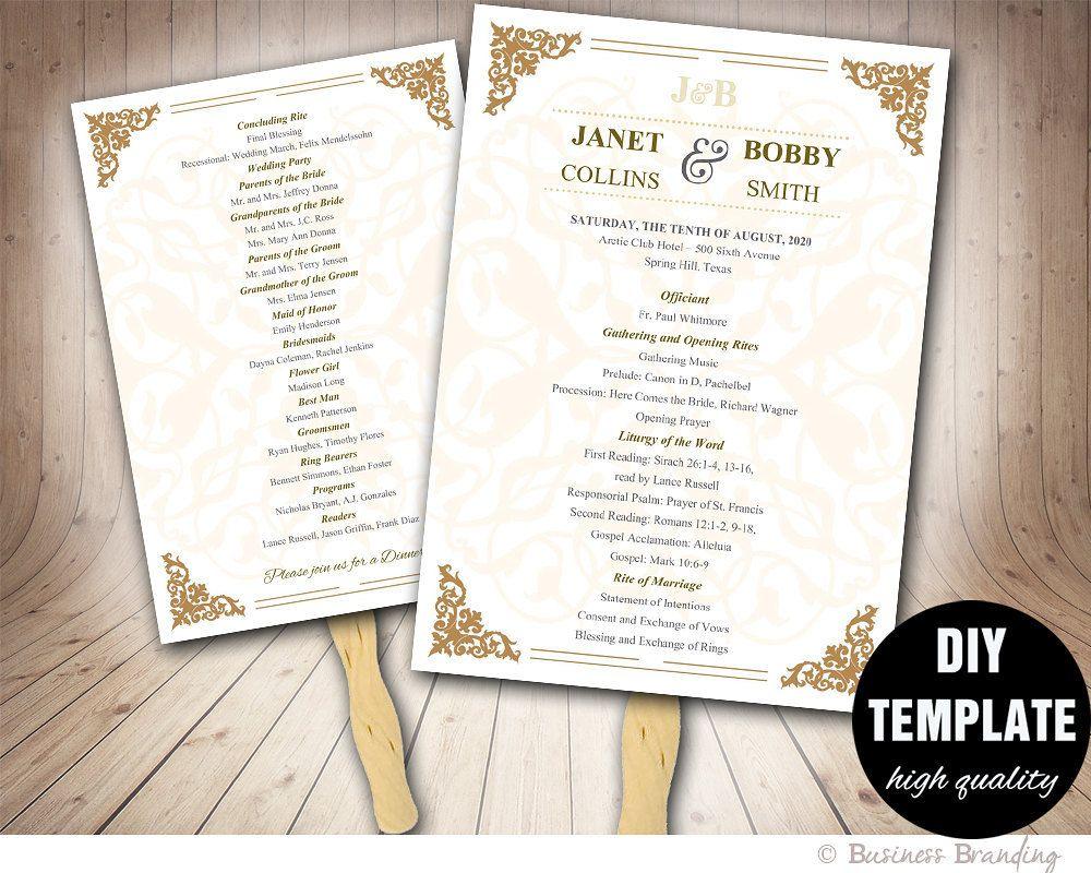 Gold wedding program fan templateprintable wedding fan programgold