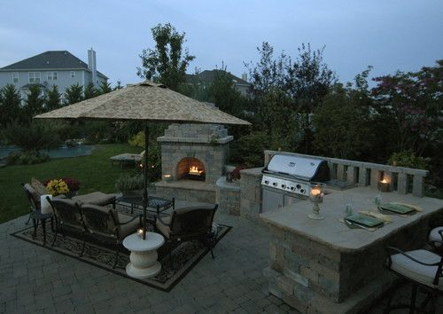 Another View Of The Fireplace BBQ Bar Seating Area Combined Pool IdeasBackyard