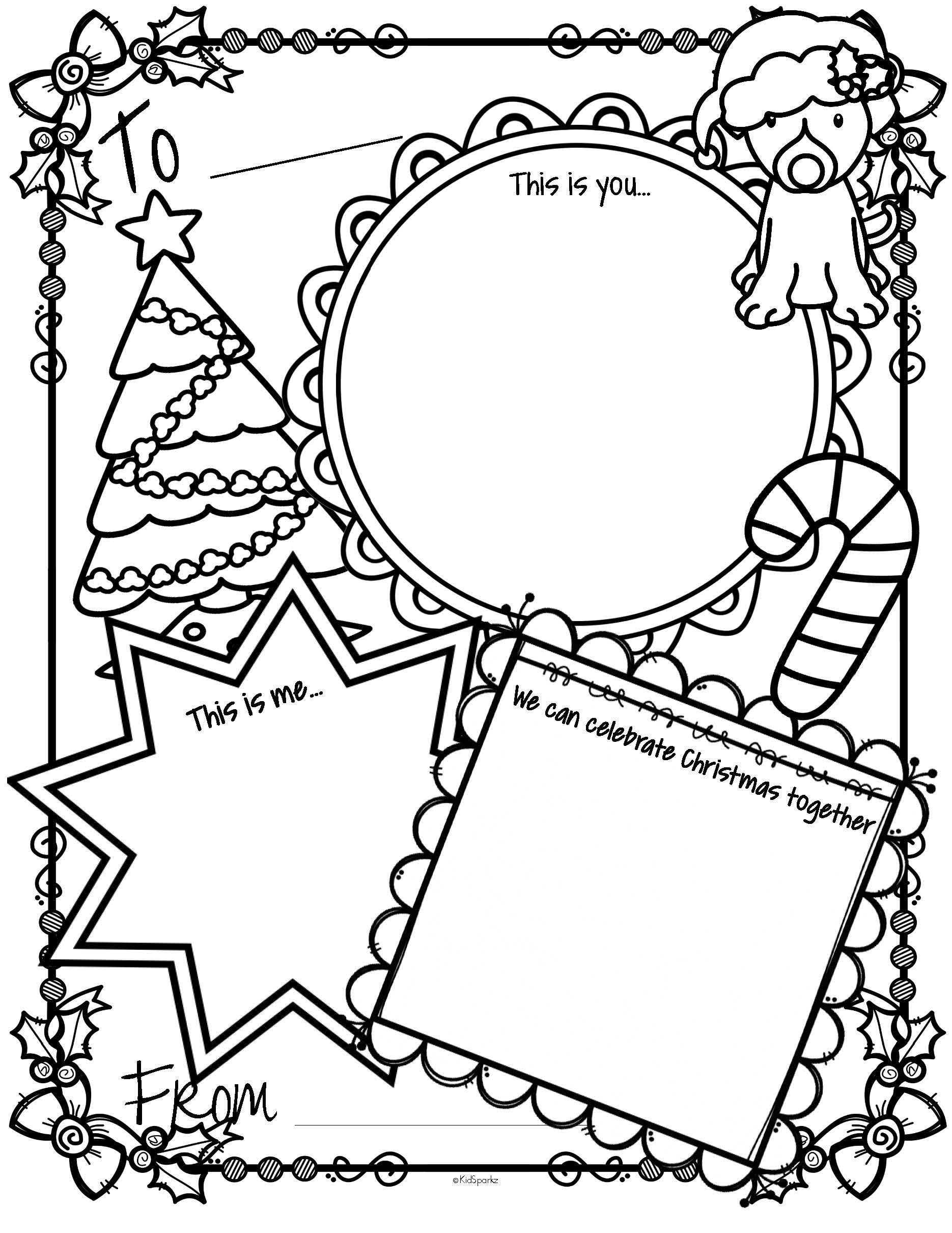 Free Full Page Christmas Card Activity Printable Christmas Coloring Cards Christmas Cards Drawing Christmas Preschool Theme