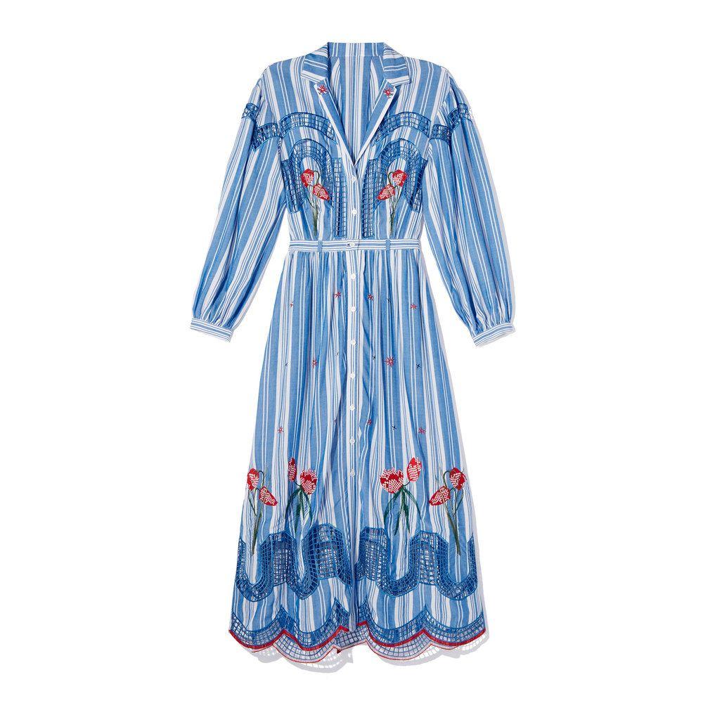 Temperley London Trelliage Shirtdress Temperley London Dress Blue Colour Dress Dresses
