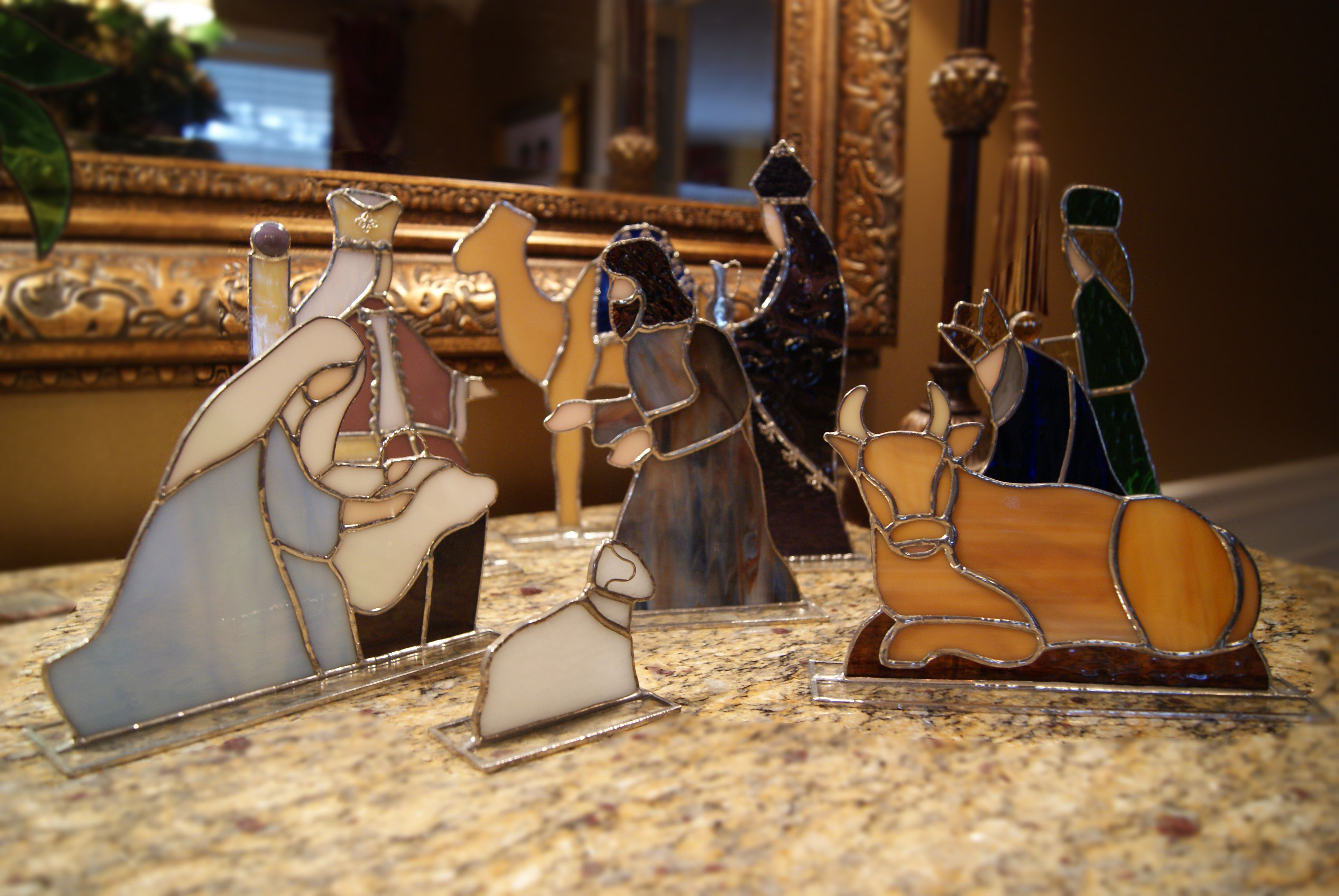 Hand Crafted Stained Glass Nativity Stained Glass Ornaments Stained Glass Christmas Stained Glass Angel