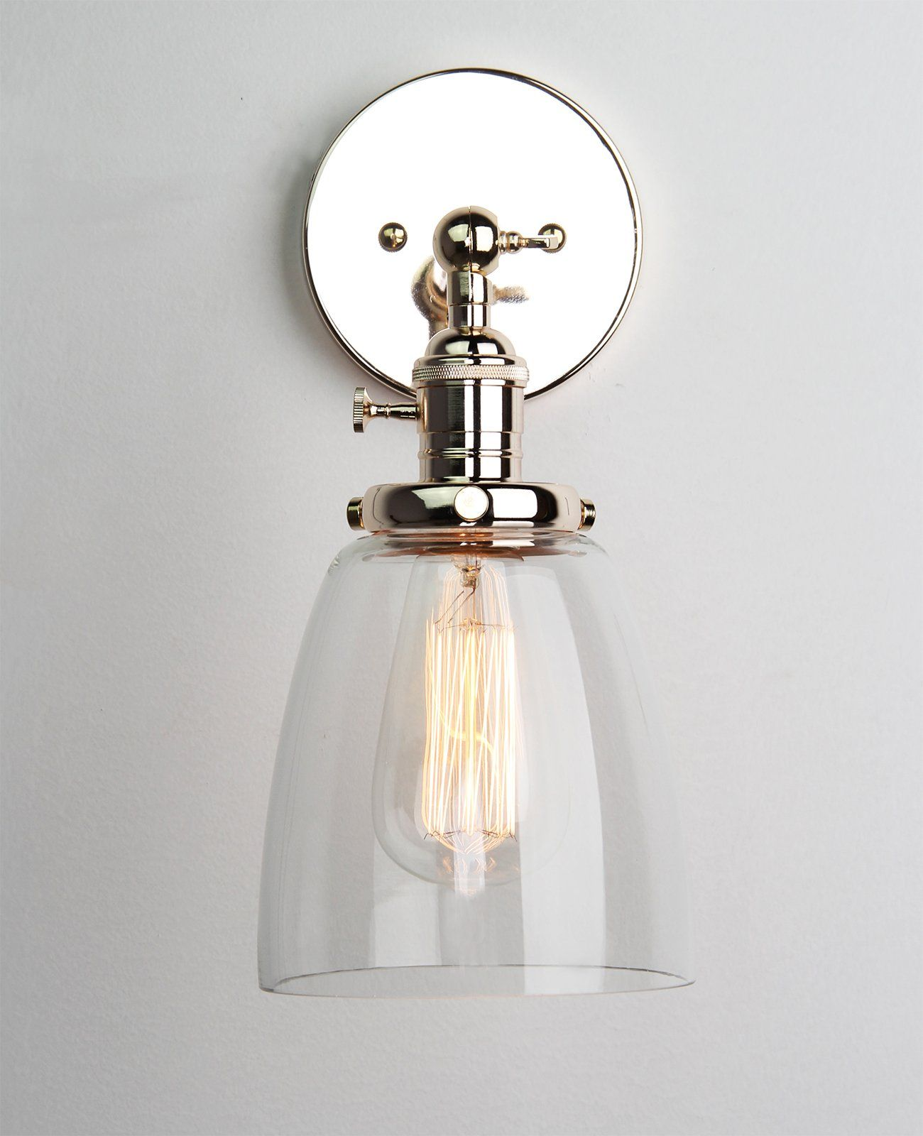 Industrial Bathroom Wall Sconces : Permo Industrial Edison Antique Single Sconce With Oval Cone Clear Glass Shade 1-light Wall ...