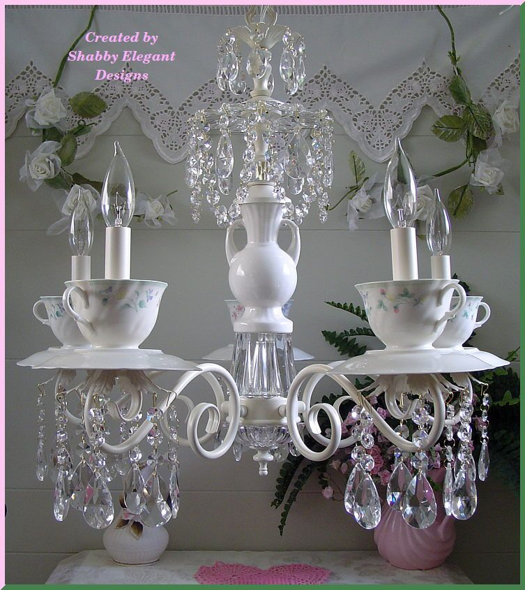 Vintage Teacup Chandelier O Just One Set With A Single Metal Scroll Crystals