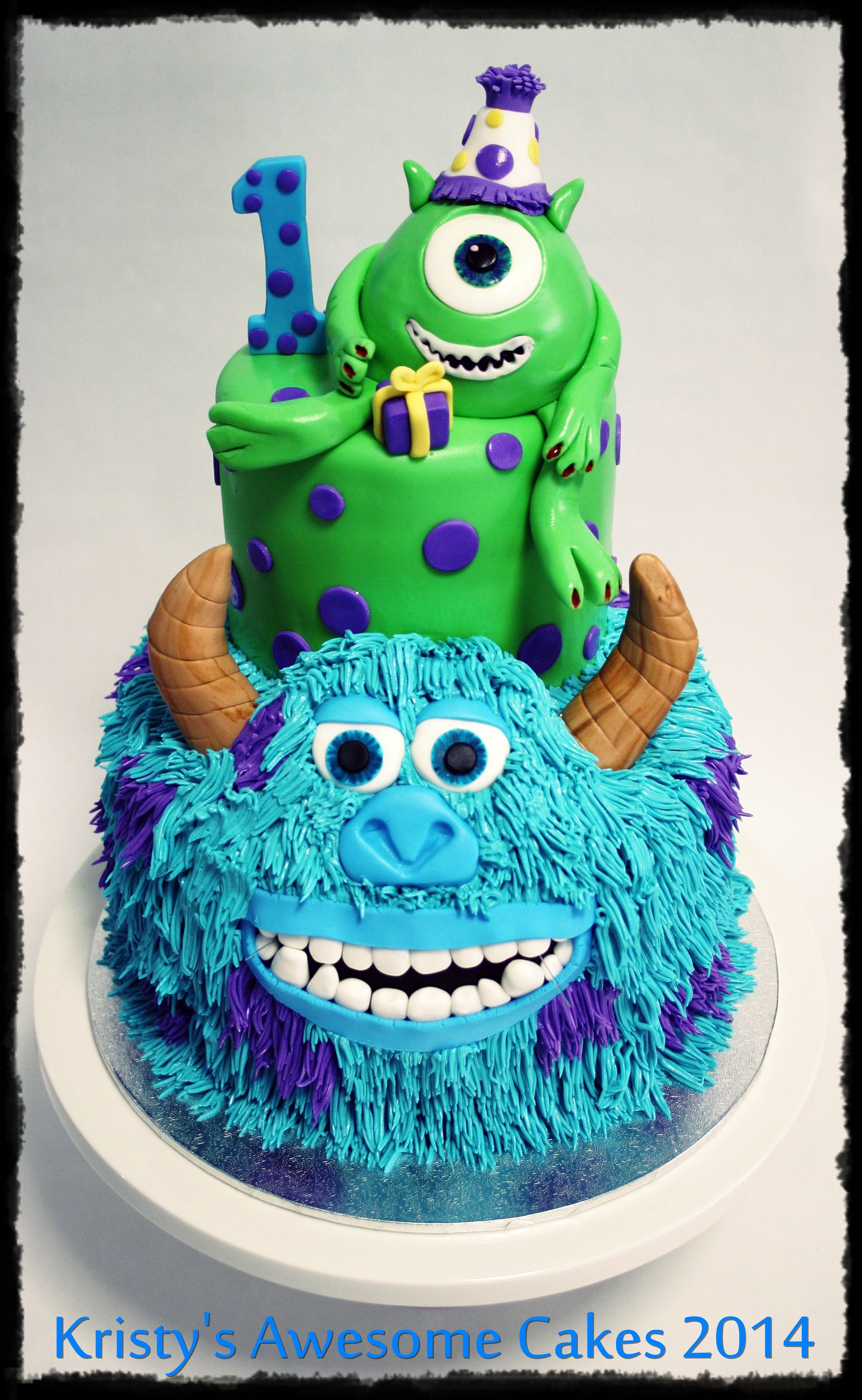 Monsters Inc Cake Mike Sully Buttercream Fur 1st Birthday