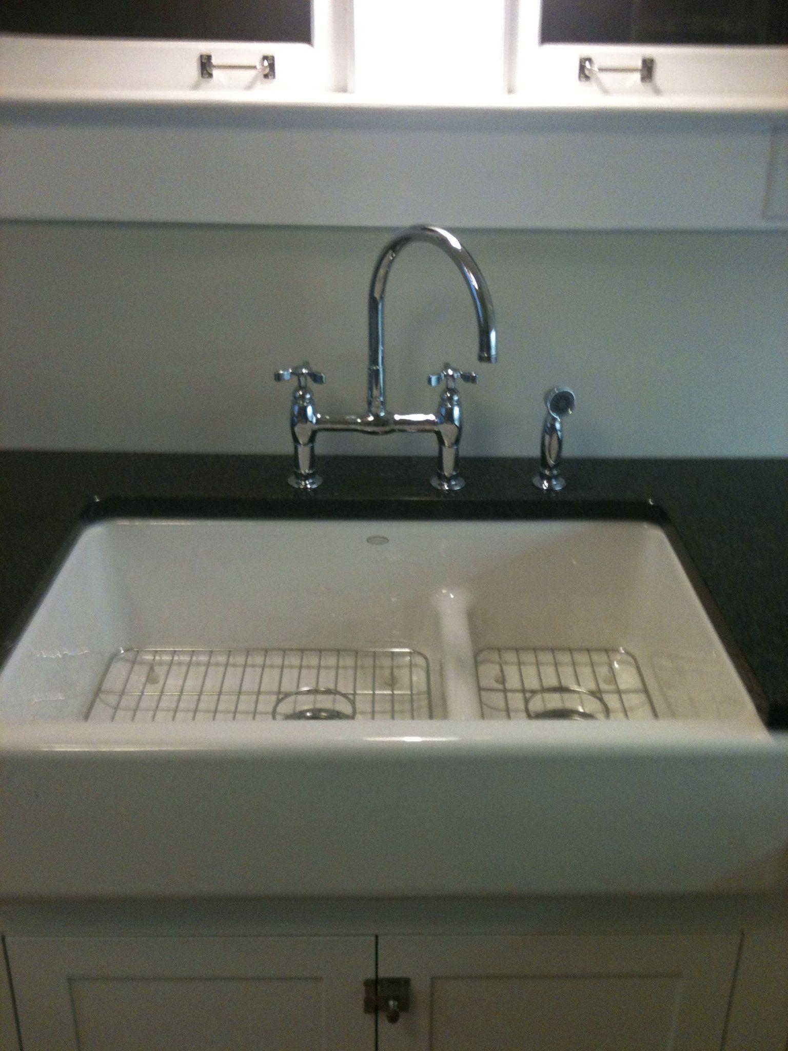 Kohler whitehaven apron sink - Kohler 36 Whitehaven 60 40 Smart Divide Tall Apron Sink And Kohler Parq Bridge