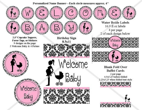 INSTANT DOWNLOAD - Damask Pink Baby Shower Party Package - DIY Digital Printable File