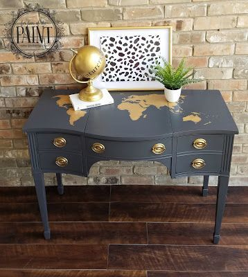 For love of the paint tutorial vintage drexel desk vanity with for love of the paint tutorial vintage drexel desk vanity with world map gumiabroncs Image collections
