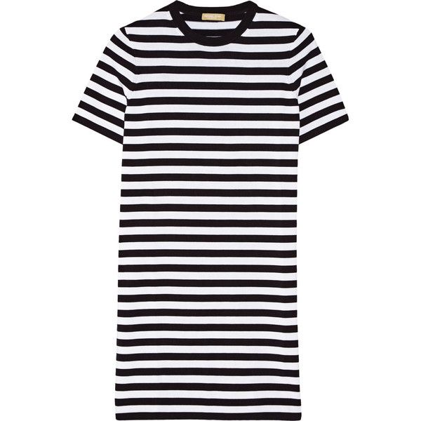 Michael Kors Collection Striped cotton-jersey dress (1.014.285 COP) ❤ liked on Polyvore featuring dresses, vestidos, michael kors, white and black dress, tan dress, black white striped dress, white black dress and black white dress