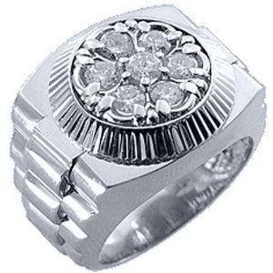 Mens Rolex Ring White Gold Round Diamond 1.50 Carats,, 50