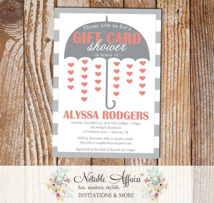 Kitchen Gift Card Umbrella Shower Hearts Coral And Gray Invitation Notable Affairs Couples Shower Invitations Invitations Shower Invitations