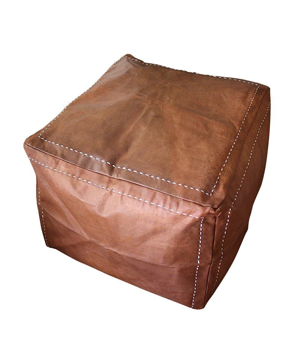 Surprising Six Canyons Square Cognac Distressed Leather Ottoman A Lamtechconsult Wood Chair Design Ideas Lamtechconsultcom