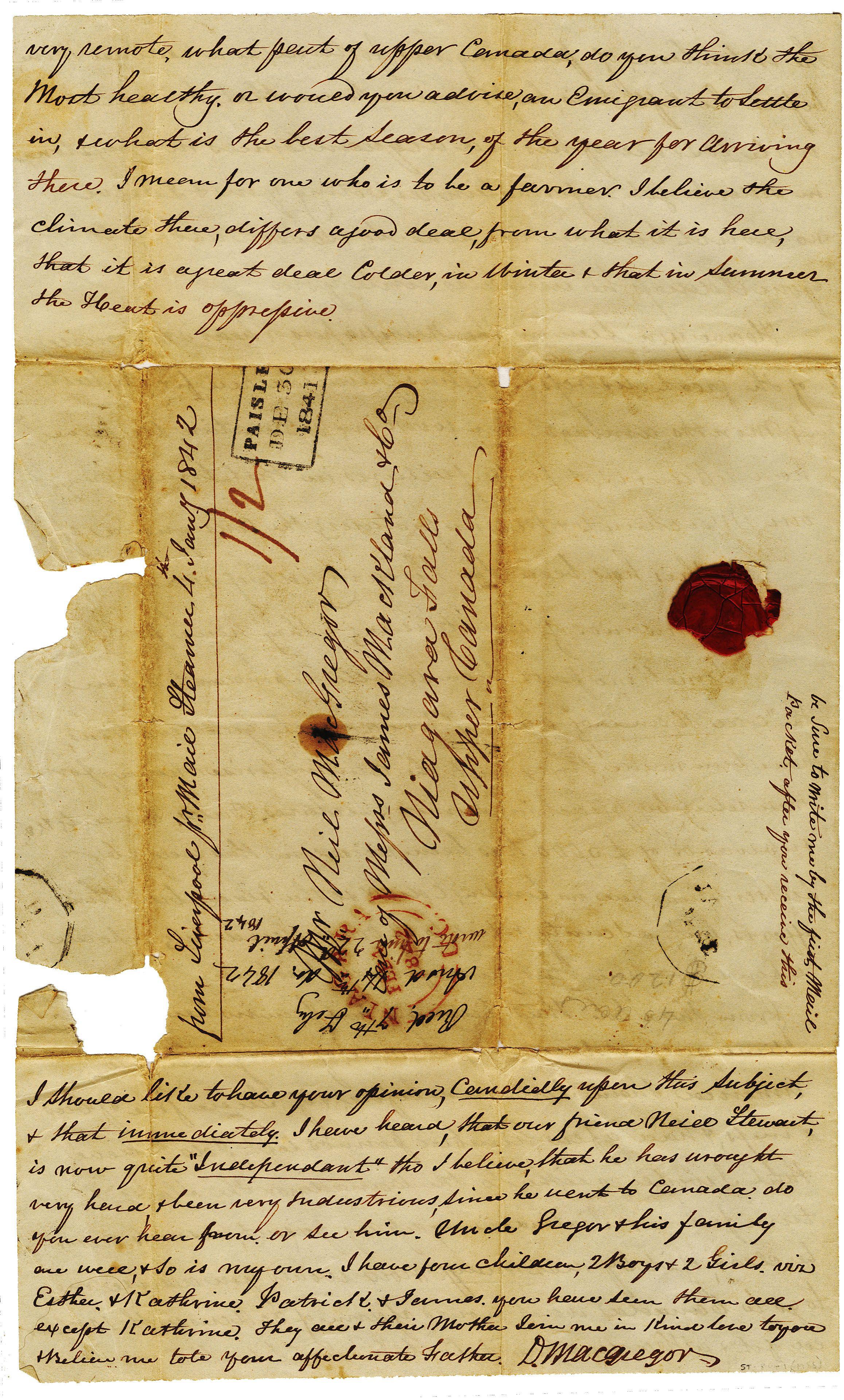 Scrapbook ideas niagara falls - 1841_december 30_pg_4_d_macgregor Old Aged Vintage Worn Letter
