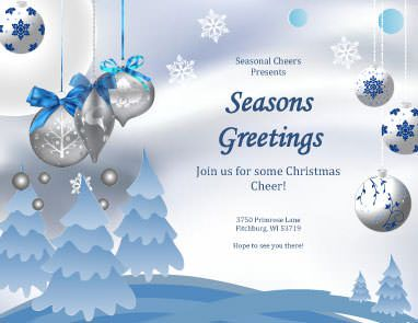 Seasons Greetings Card Free Flyer Template By Hloom Com Christmas Invitations Template Free Christmas Invitation Templates Christmas Flyer Template