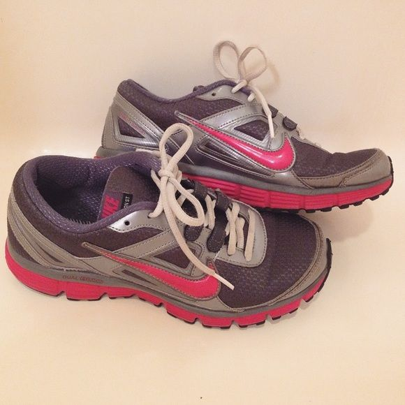 Nike Dual Fusion ST Shoes Pink and grey Nike shoes - previously loved but with lots of life left! No insoles (I took them out and used my own thinking I would never sell them). Make me an offer! Nike Shoes Athletic Shoes