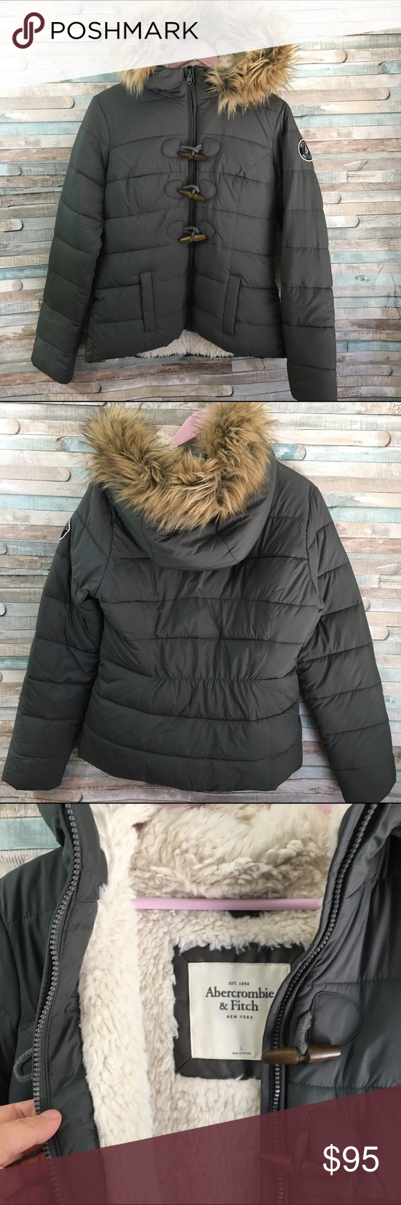 Abercrombie women's lined puffer coat L Gray puffer coat lined with a super soft Fur material.  Fur lined hood, fur is removable.  In excellent like new condition from a smoke free home size Large. Abercrombie & Fitch Jackets & Coats Puffers