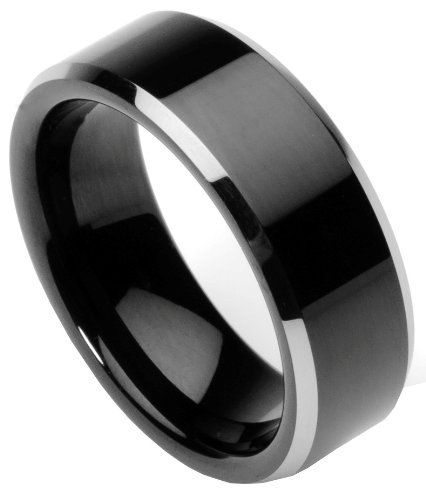 Men S Tungsten Ring Wedding Band Flat Top Two Toned