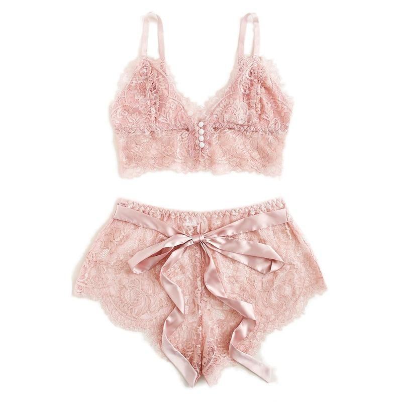 Melissa Pink Scalloped Floral Lace Lingerie Set -