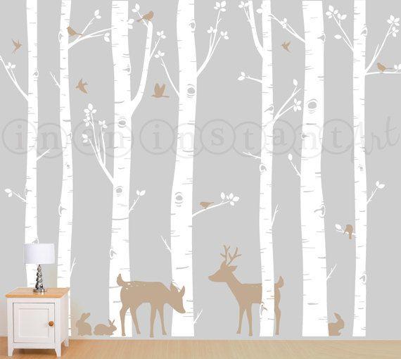 Bosque de abedul, abedules, abedul árboles vinilo, etiqueta de la pared de árbol del abedul con ciervos y conejos para vivero abedul, niños o los niños sala 011