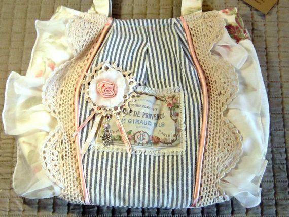 Shabby chic neo Victorian rose print OOAK fabric handbag
