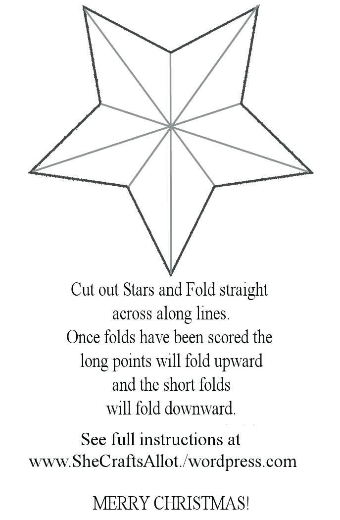 Star Template Printable Free Patterns For Making A Shabby Chic 5 Point Ornament From Paper 3d Ch Templates Printable Free Star Template Star Template Printable