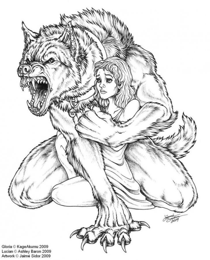Werewolf Kidnapping A Woman Coloring Pages Sketches Werewolf