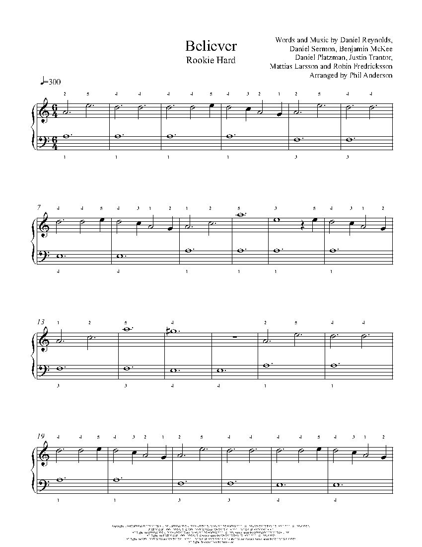 Believer By Imagine Dragons Piano Sheet Music Rookie Level