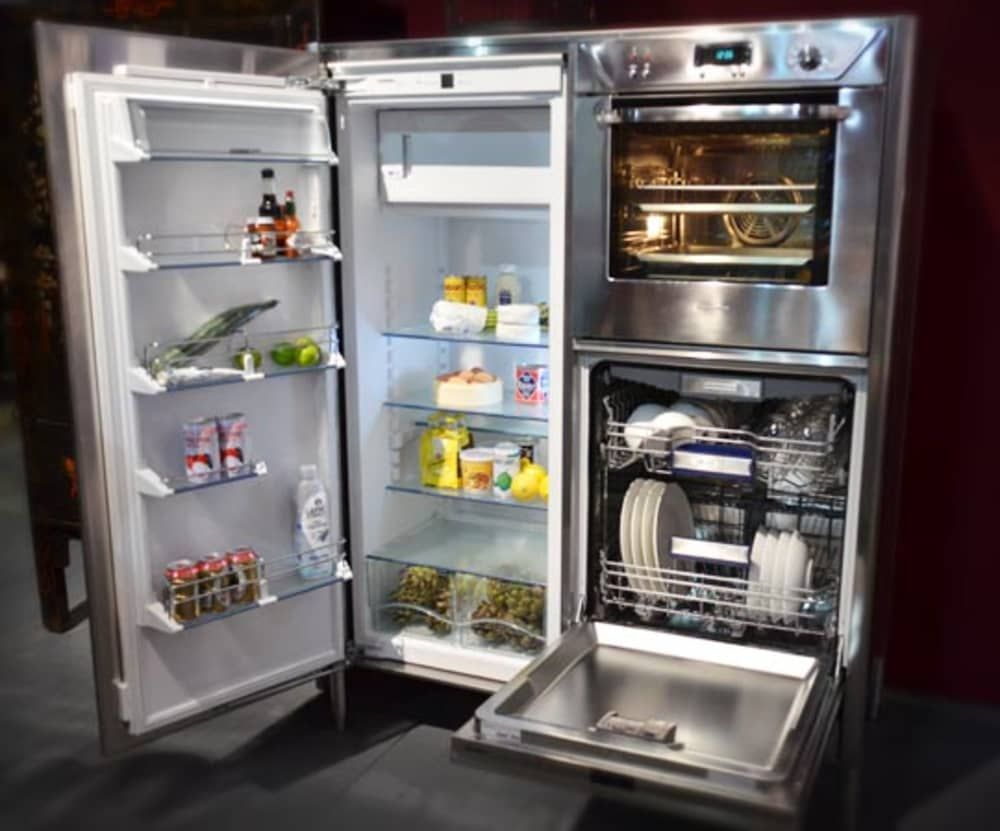 Combination Refrigerator Dishwasher Oven Unit From Alpes Inox Tiny House Appliances Small Fridges Tiny House Living