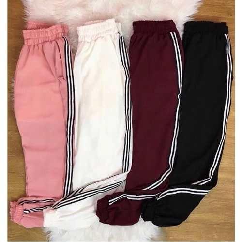 calça jogger moda feminina listrada inverno lançamento  312625e9571
