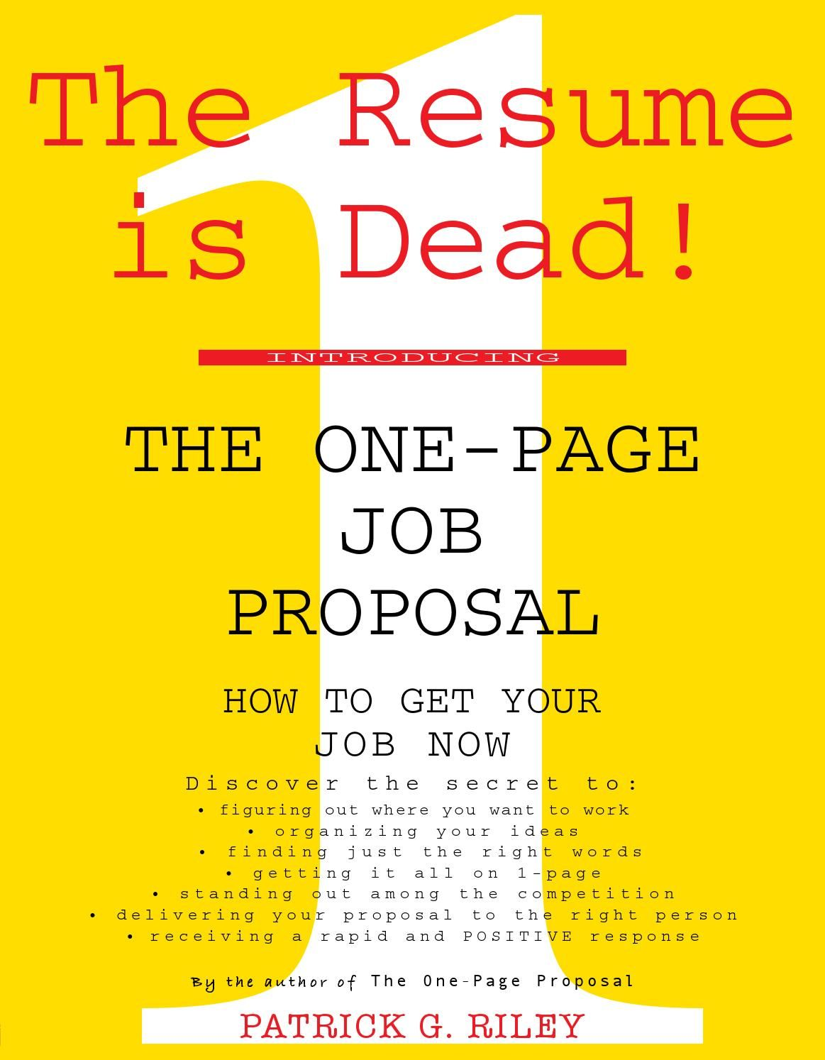The One Page Job Proposal Job Proposal First Page