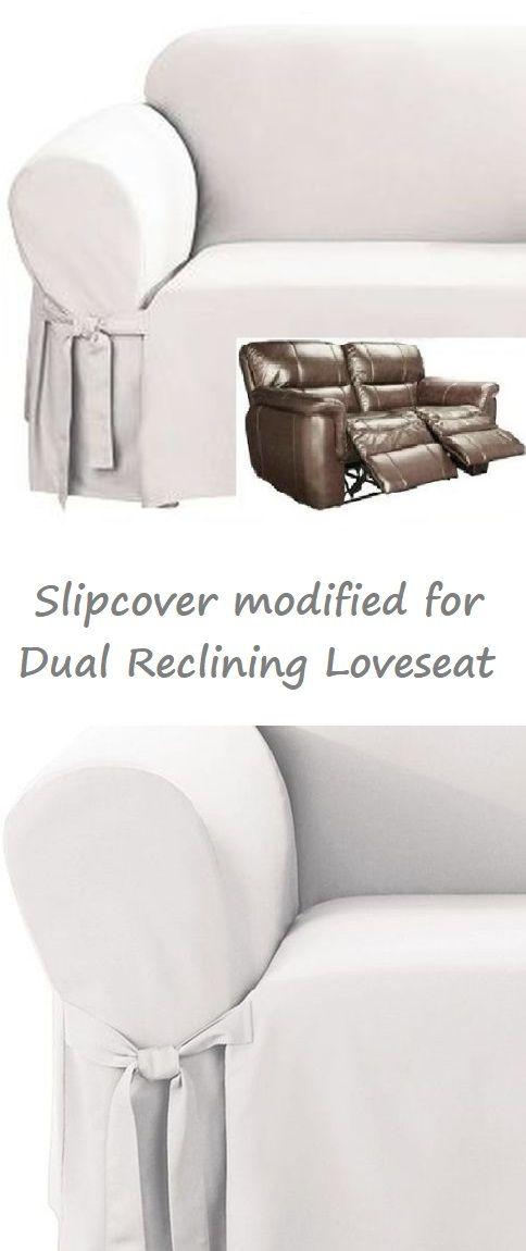 Pleasant Dual Reclining Loveseat Slipcover White Cotton Sure Fit Creativecarmelina Interior Chair Design Creativecarmelinacom
