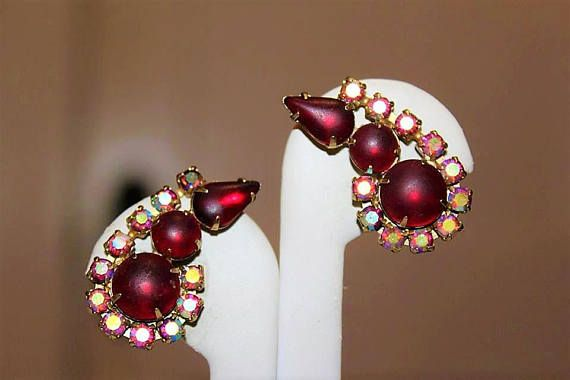 Vintage High End Designer Frosted Red Ab Crystal Clip Earring