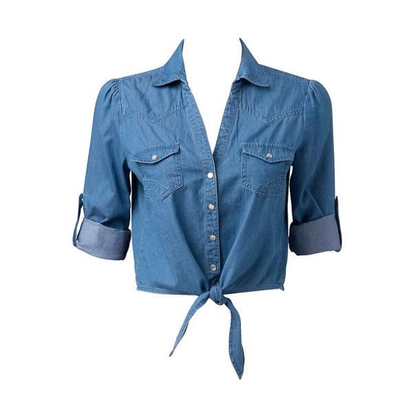 Chambray Tie Front Shirt - Forever New ($43) ❤ liked on Polyvore featuring tops, t-shirts, tie front top, chambray shirt, shirts & tops, blue shirt and blue chambray shirt