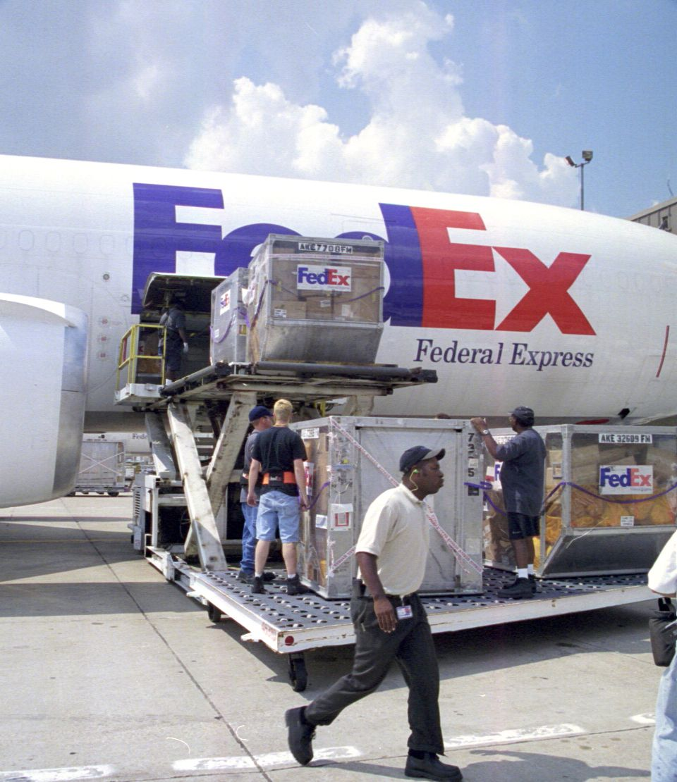 Fedex Federal Express Cargo Plane Freighter Being Loaded