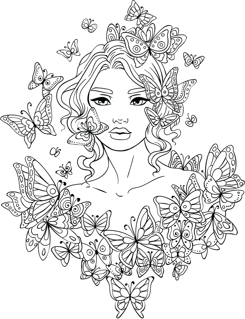 Line Artsy Free Adult Coloring Page Butterflies Around