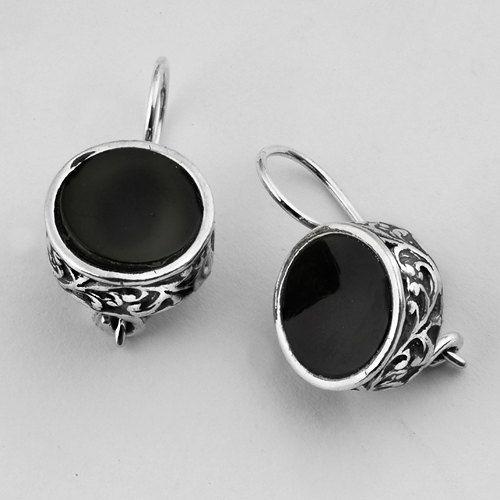 Amazing 925 Sterling Silver Earrings Onyx Black Didae Shablool