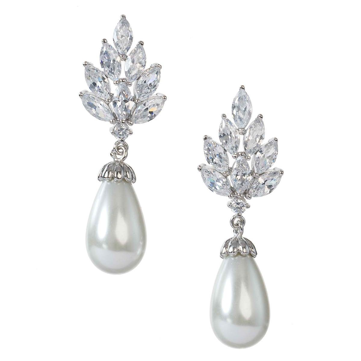 """Anna Bellagio - Margaret Modern Vintage Pearl and Cubic Zirconia Bridal Earring - Length 1.5"""", Width 0.5"""", $78.00"""