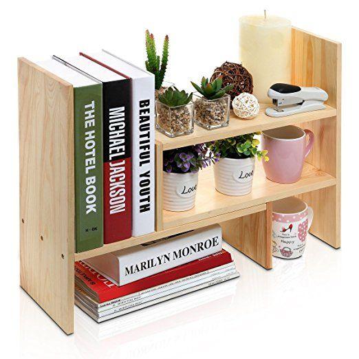 Amazon.com  Adjustable Natural Wood Desktop Storage Organizer Display Shelf Rack Counter Top Bookcase Beige  Office Products  sc 1 st  Pinterest & Amazon.com : Adjustable Natural Wood Desktop Storage Organizer ...