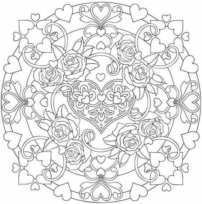 Heart Flower Mandala Mandala Coloring Pages Heart Coloring Pages Coloring Pages