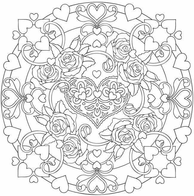 Heart Flower Mandala Mandala Coloring Pages Heart Coloring