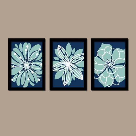 Light Blue Bathroom Wall Art Canvas Or Prints Blue Bedroom: Flower Pictures, Navy Aqua Bedroom Decor, Navy Aqua